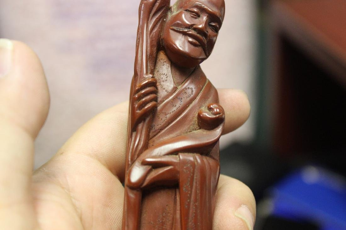An Antique or Vintage Chinese Wooden Sage - 4