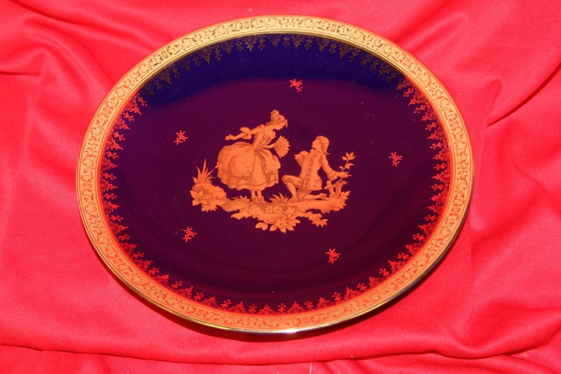 A Limoge Cobalt Blue and Gold Couple Plate