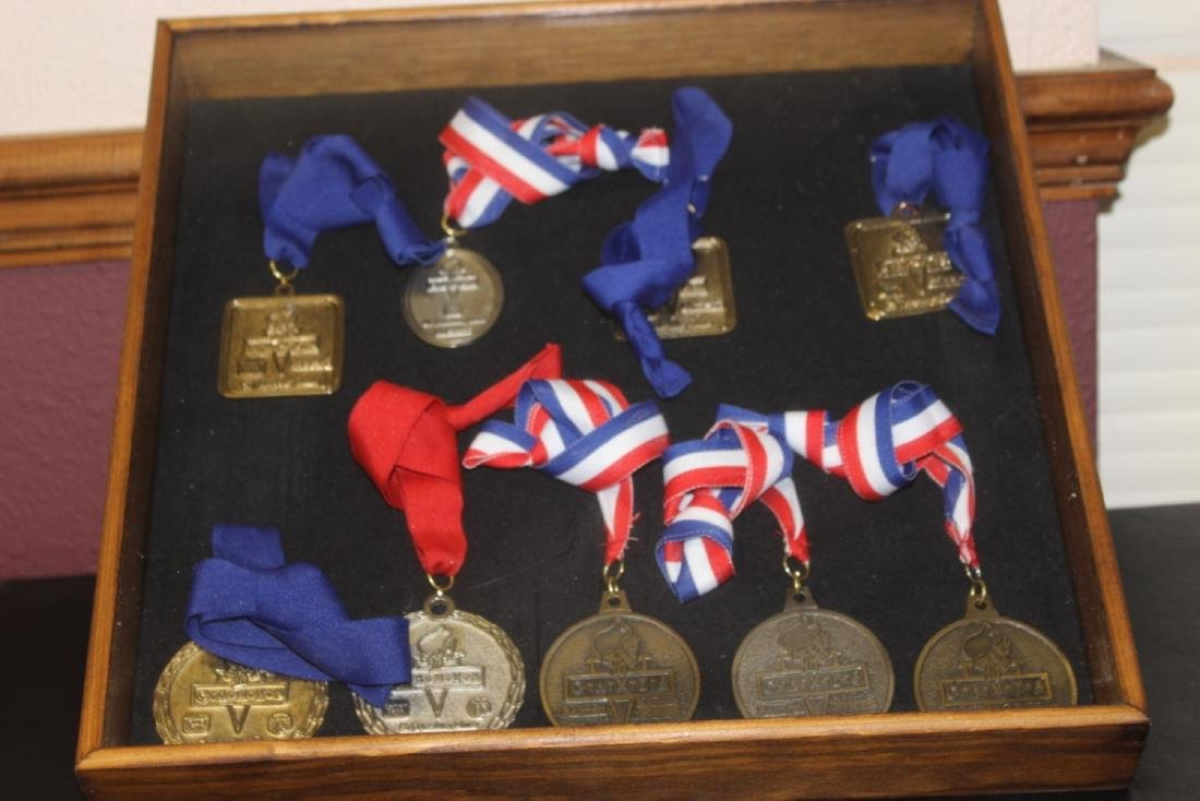 Lot of 9 Medals With Ribbon In A Shadow Box or Case