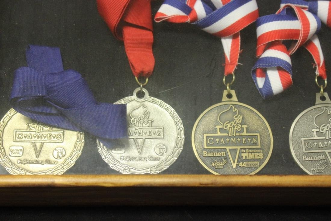 Lot of 9 Medals With Ribbon In A Shadow Box or Case - 2