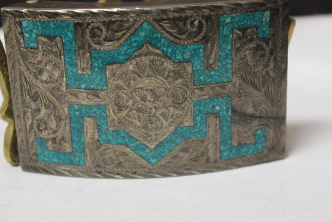 A Sterling and Torquoise inlaid Belt Buckle - 2