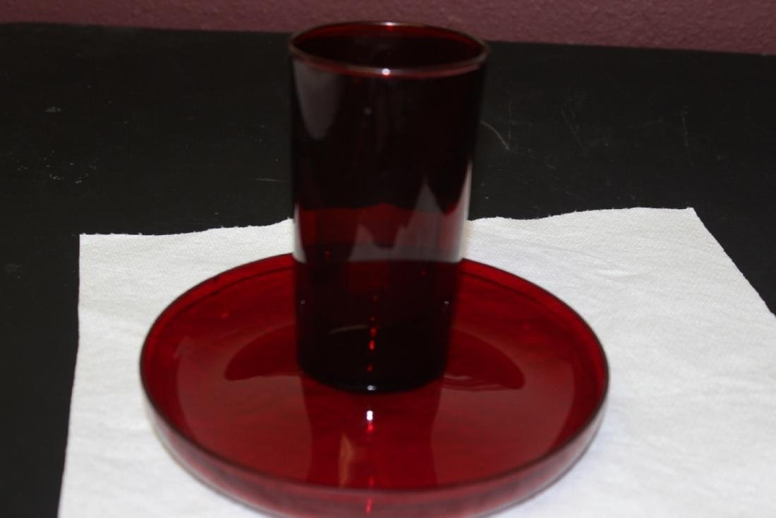 A Ruby Red Glass Cup and Round Tray - 4