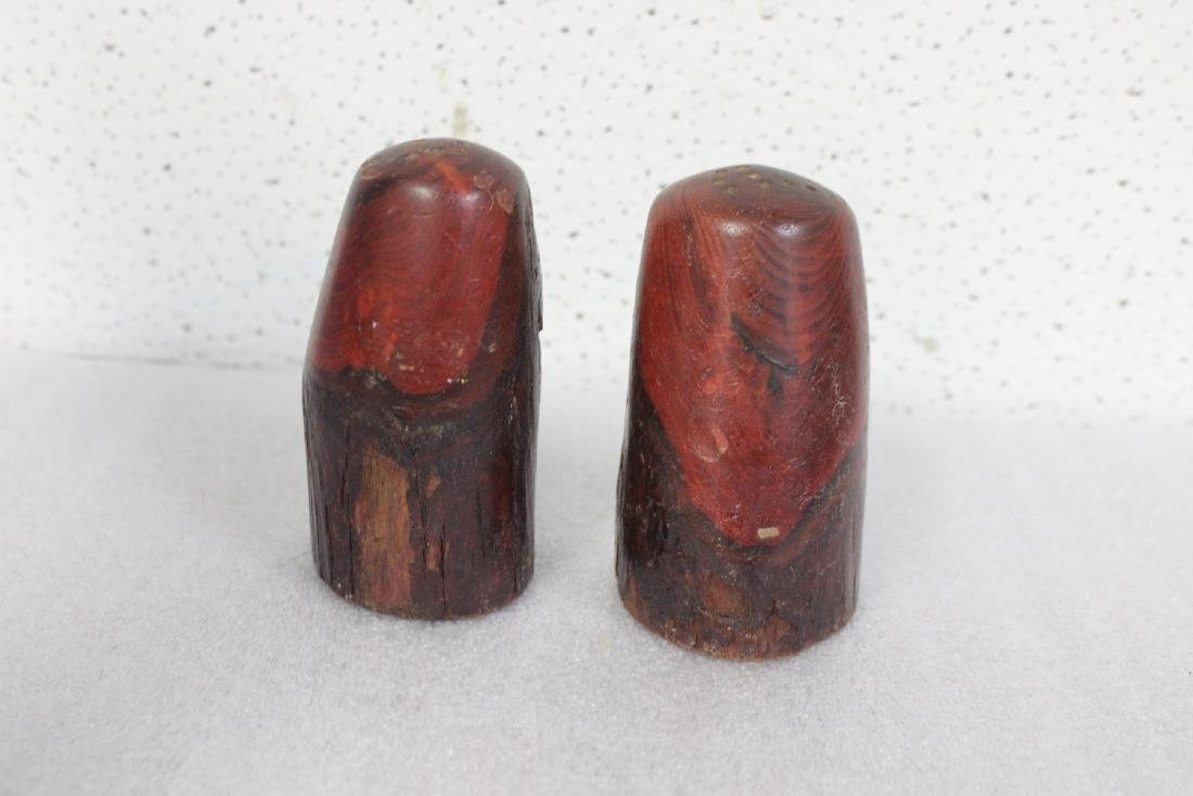 Pair of Wooden Salt and Pepper Shakers - 2
