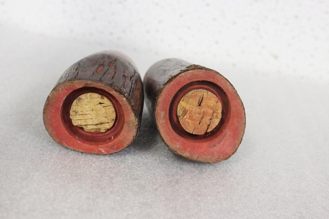 Pair of Wooden Salt and Pepper Shakers - 4