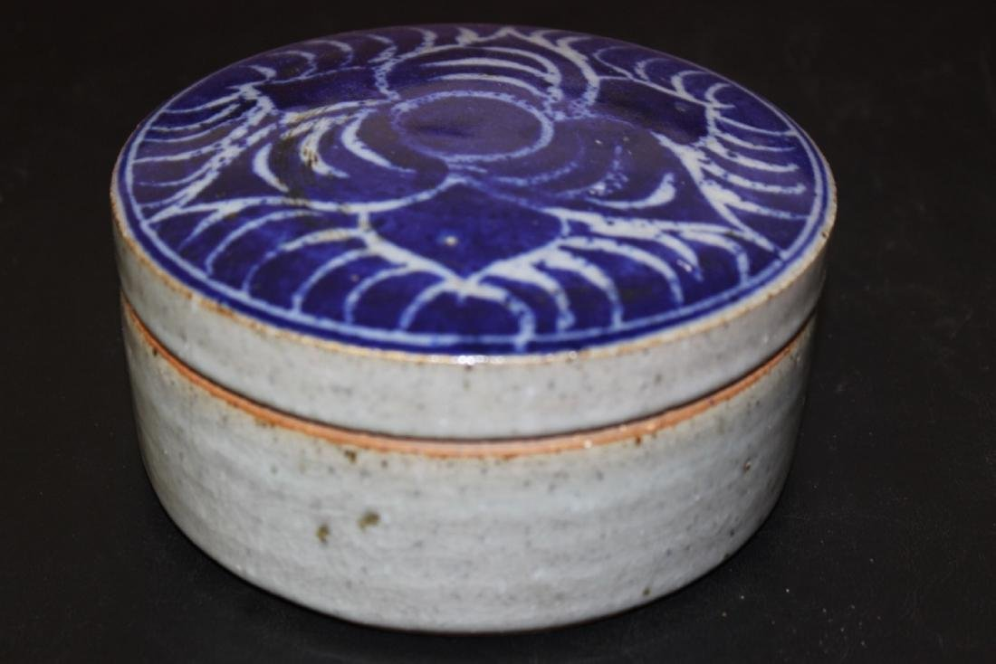 An Antique Chinese/Asian Blue and Celadon Cover Jar - 2