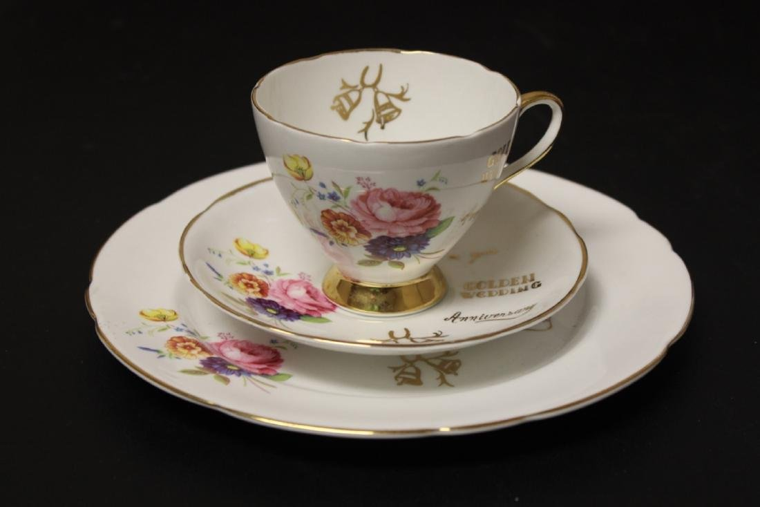 A Set of 3 Golden Wedding Staffordshire Cup and Saucer