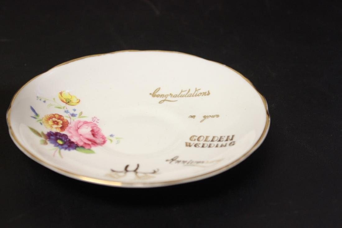 A Set of 3 Golden Wedding Staffordshire Cup and Saucer - 2