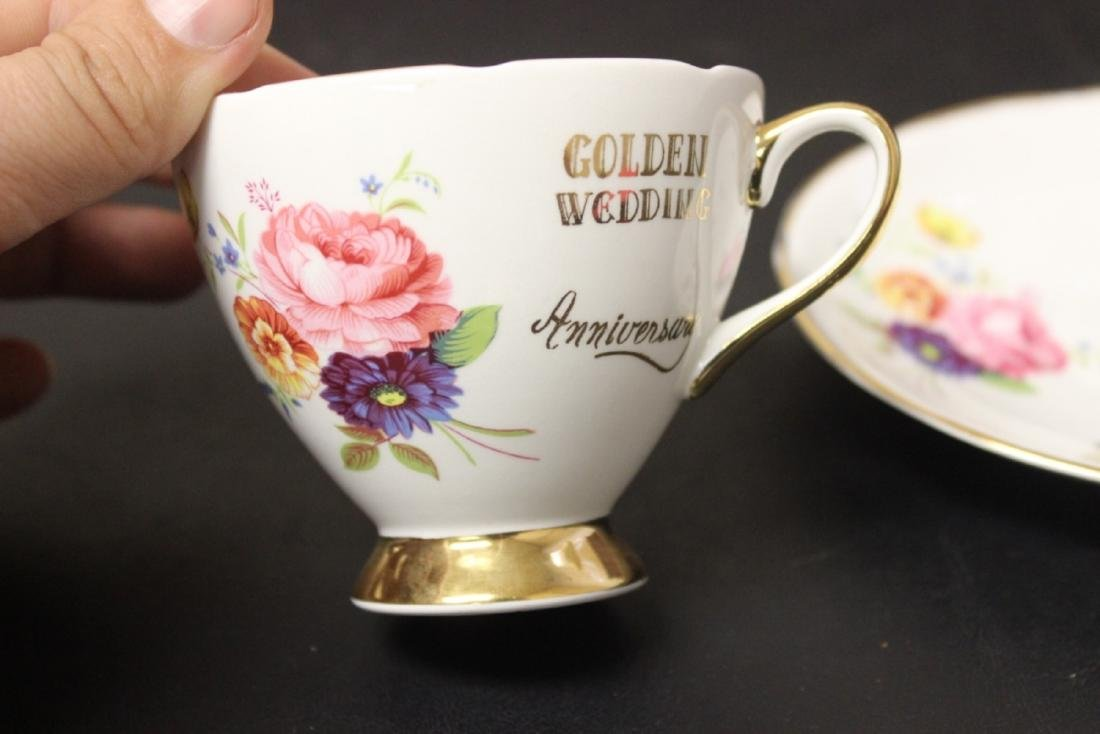 A Set of 3 Golden Wedding Staffordshire Cup and Saucer - 4
