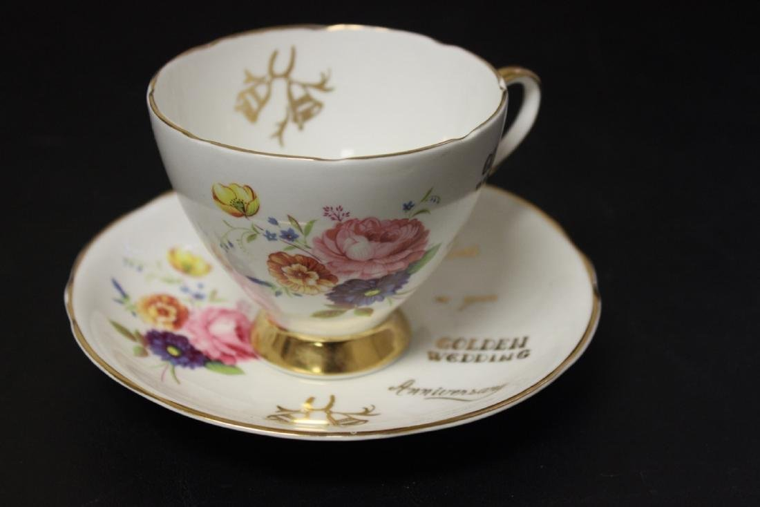 A Set of 3 Golden Wedding Staffordshire Cup and Saucer - 8