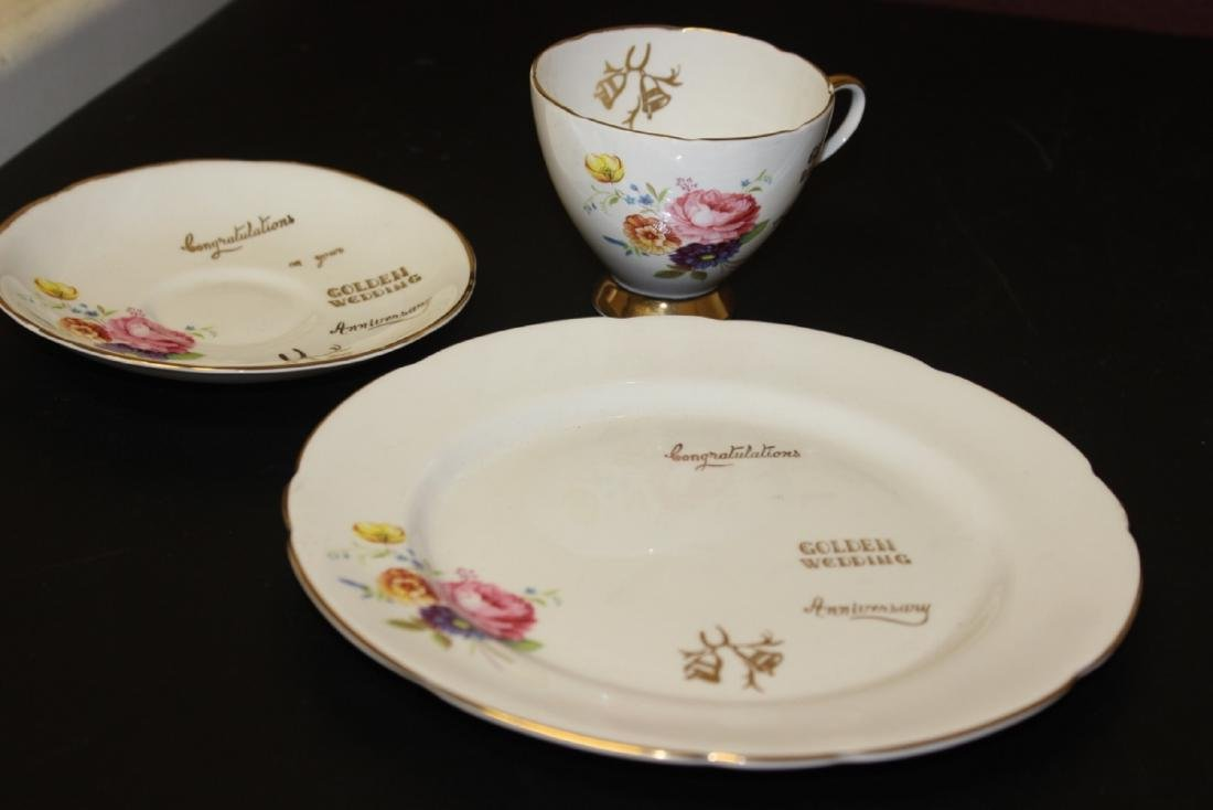 A Set of 3 Golden Wedding Staffordshire Cup and Saucer - 9