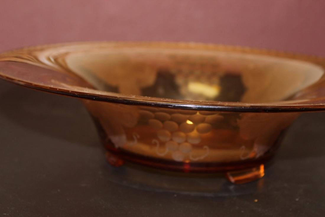 An Amber Cut Glass Large Footed Bowl - 2
