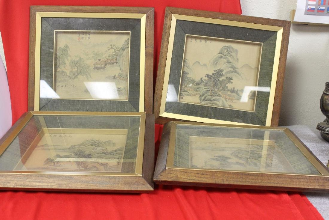 Set of 4 Chinese Watercolor on Silk