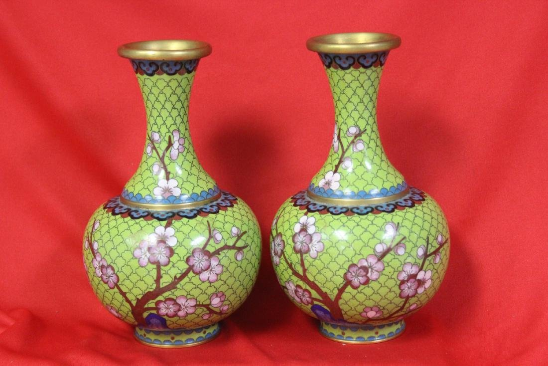 Pair of Chinese Cloisonne Pear Shape Vases