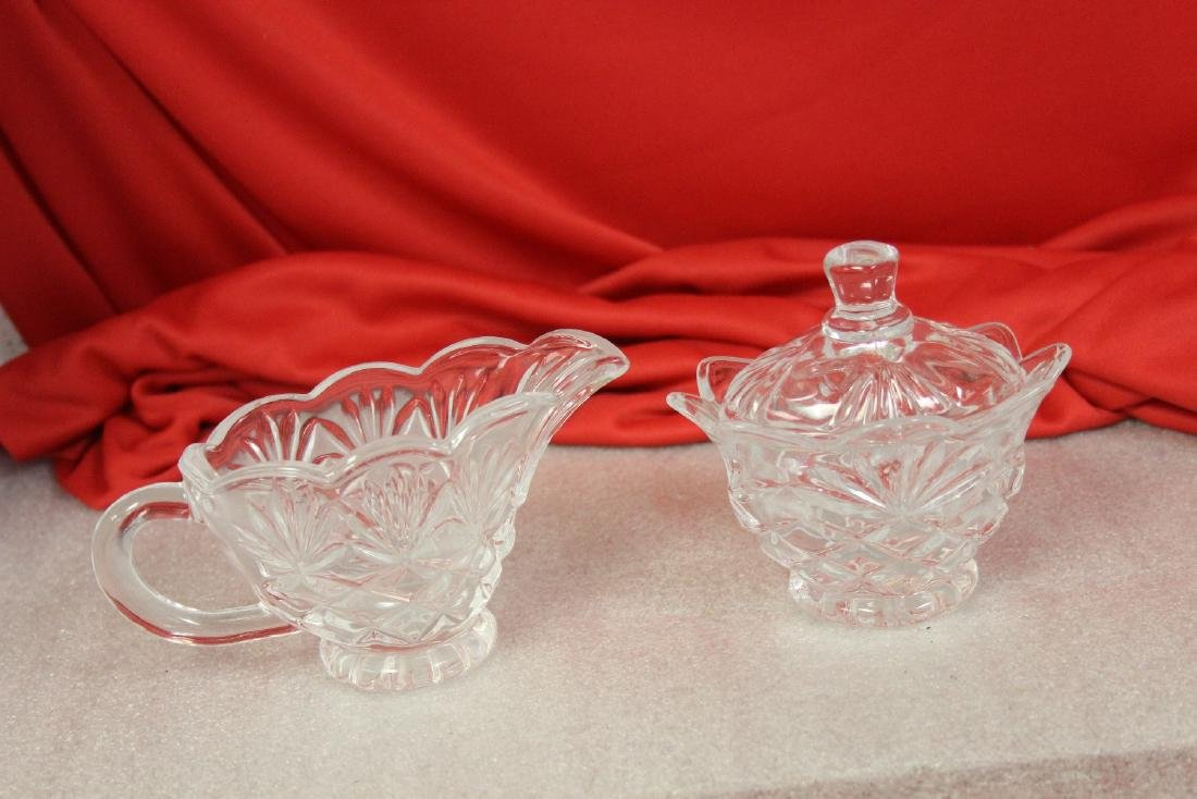 Lot of Two Pressed Glass Sugar and Creamer