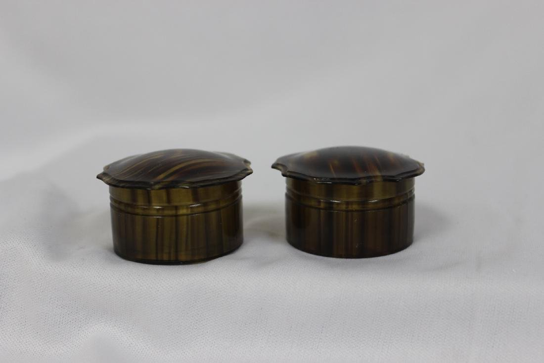 Lot of Two Faux Tortoise Shell Lucite Trinket Boxes