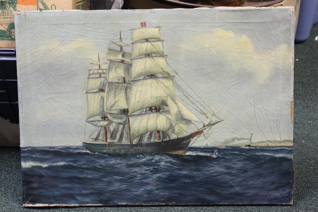 An Antique Oil on Canvas of a Clipper Ship