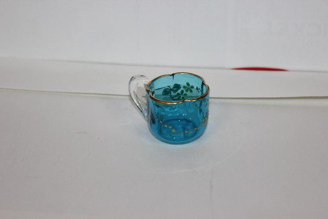 An Unusual Teal Coloured Blue Glass Miniature Cup