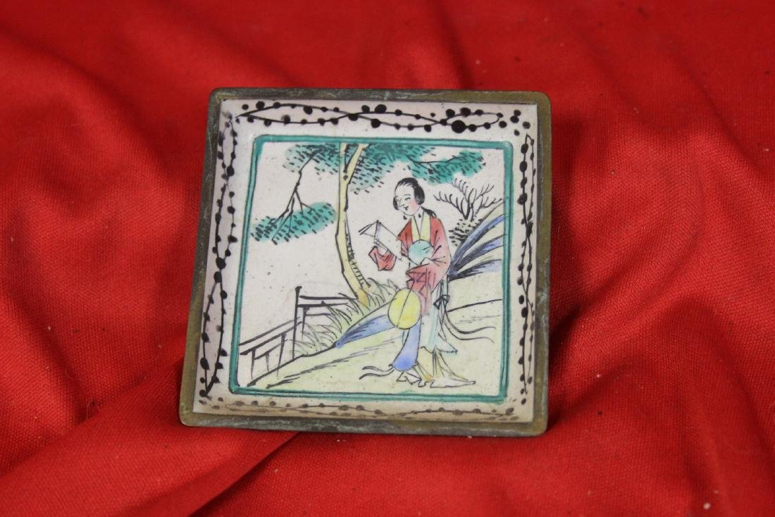 A Chinese Canton Enamel Small Square Dish