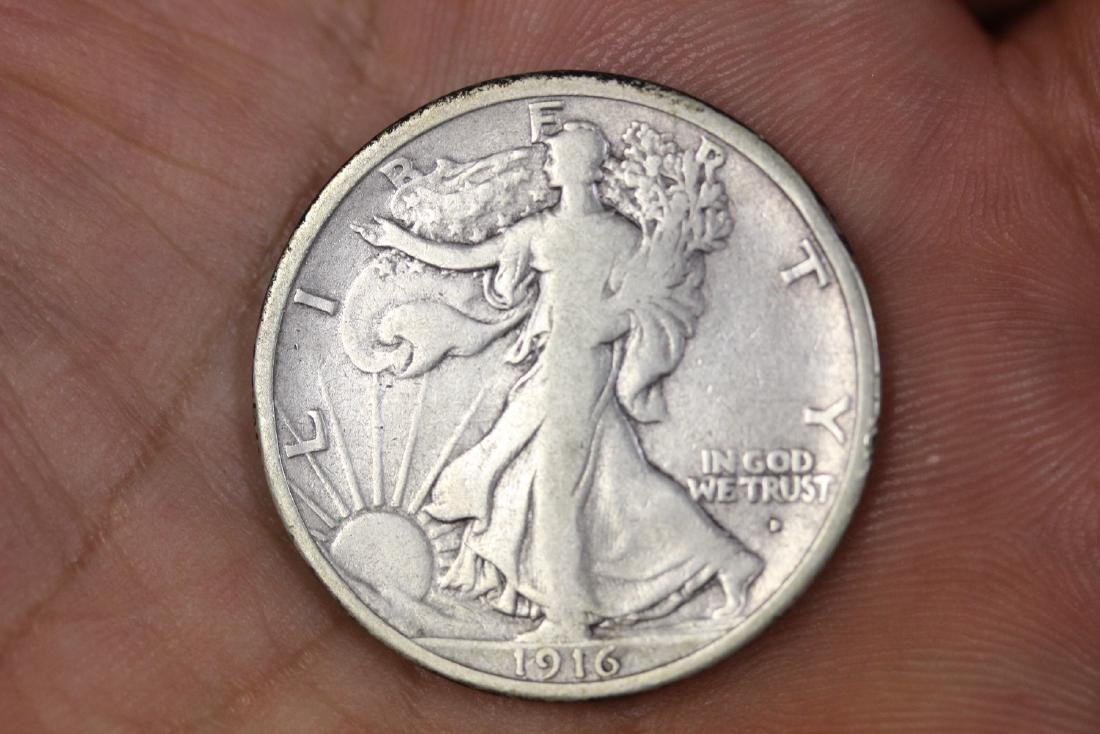 A 1916-D Walking Liberty Half Dollar
