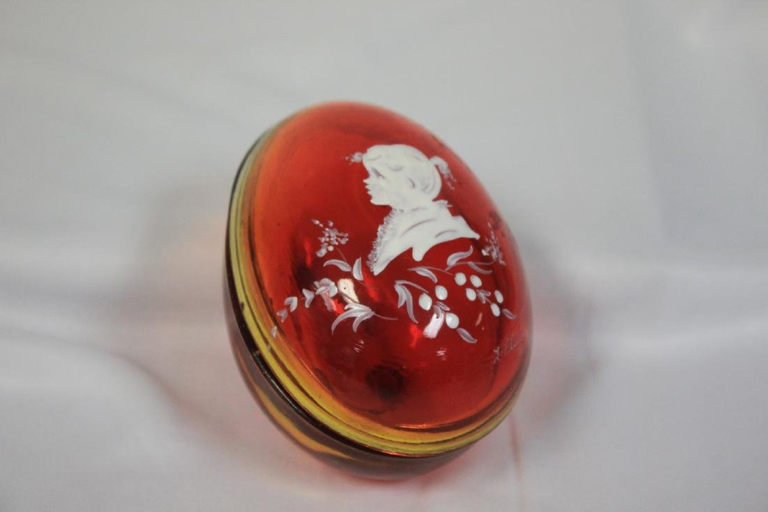 A New Orleans Ruby Red Glass Egg