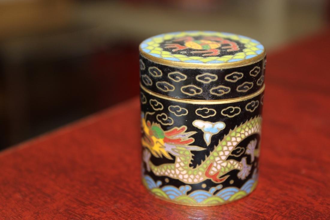 A Vintage Chinese Cloisonne Cylinder Trinket Box