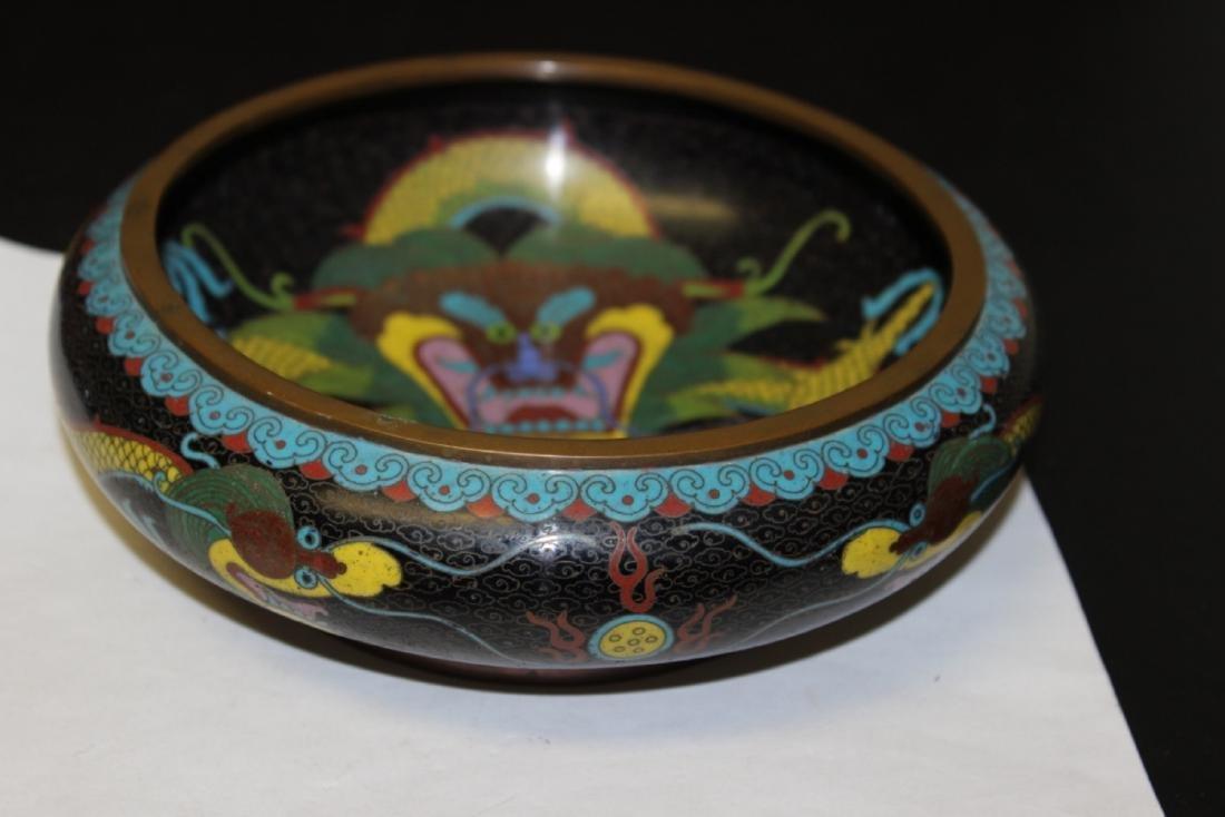 An Antique/Vintage Signed Chinese Cloisonne Dragon Bowl