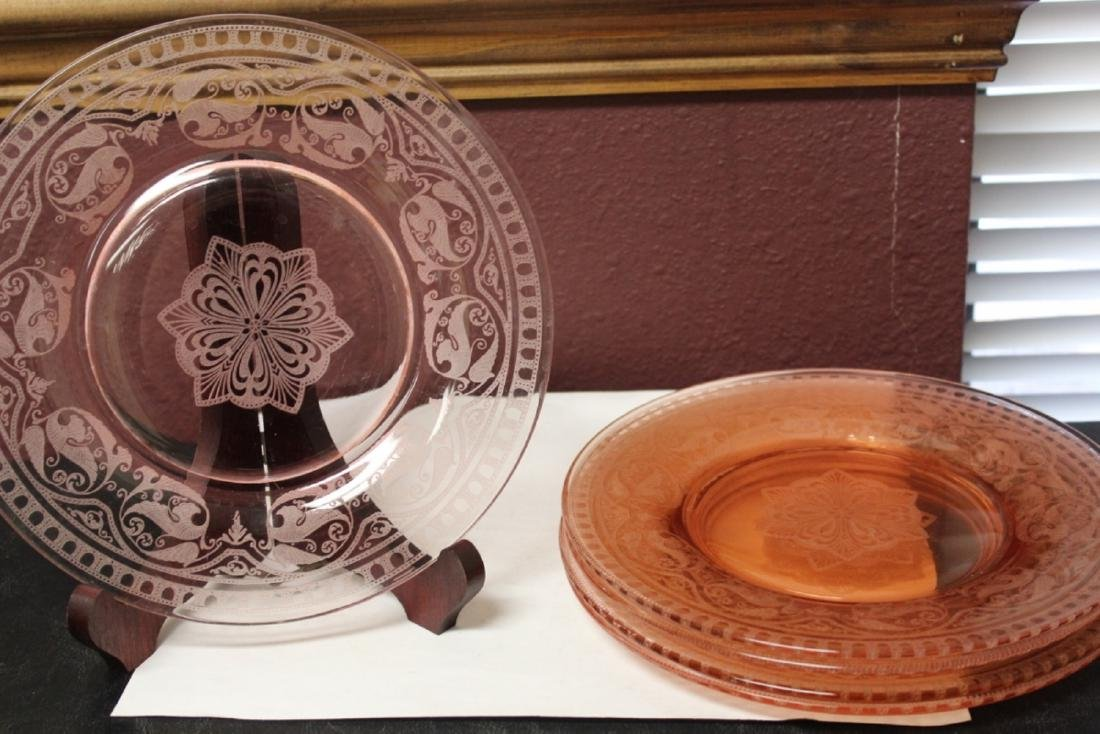 Lot of 5 Etched Pink Depression Glass Plates