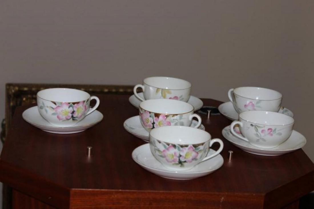 A Set of 6 Noritake Azalea Pattern Cup and Saucers