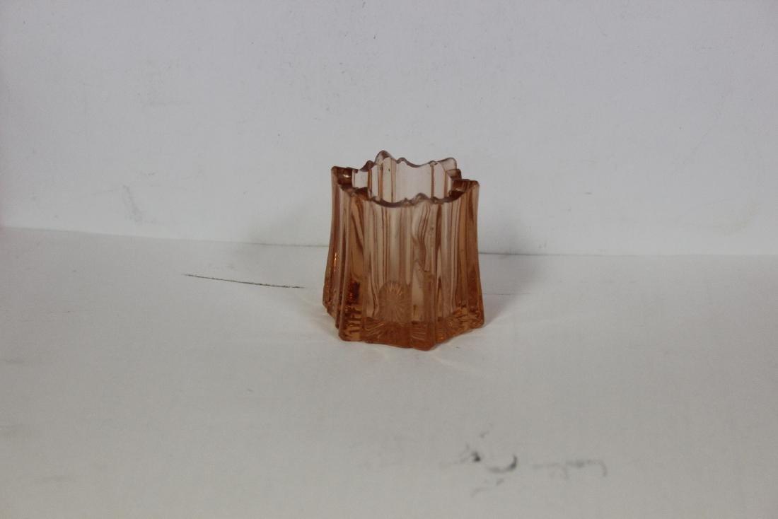 A Pink Depression Glass Toothpick Holder