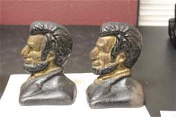 Pair of Vintage Cast Iron Lincoln Bookends