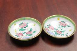 Set of 2 Chinese Enamel Sauce Dishes