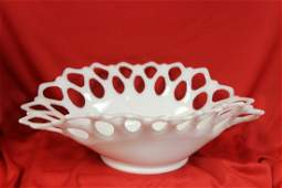 A Reticulated Milk Glass Bowl