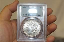 A Graded 1886 Morgan Silver Dollar