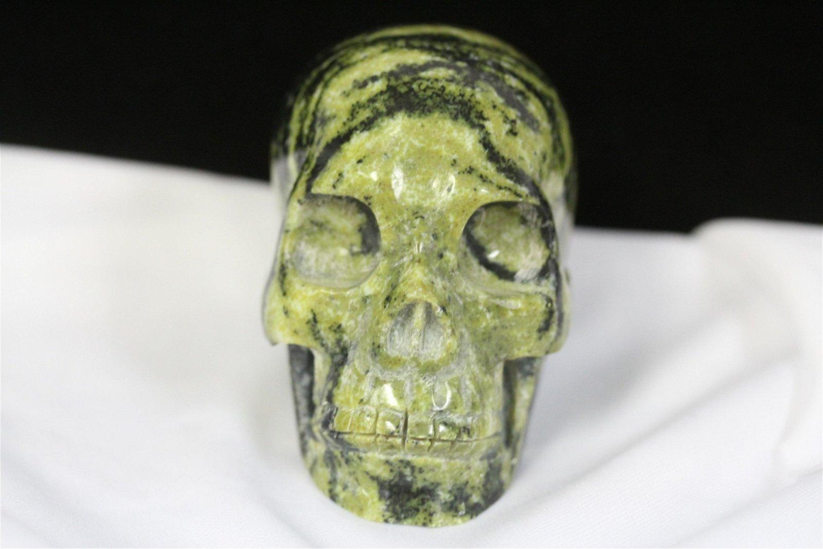 A Jade or Hardstone Skull