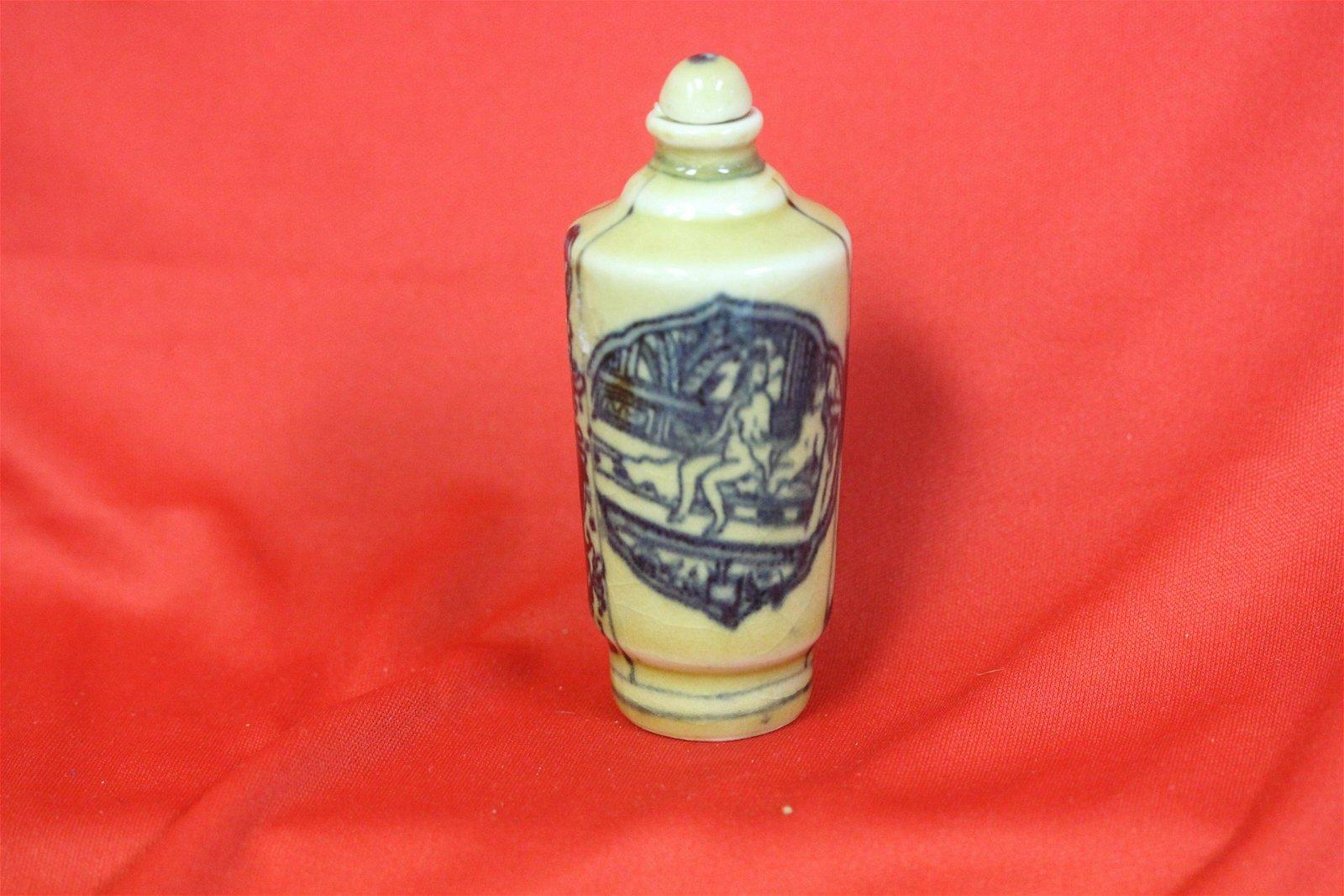 An Erotic Porcelain Snuff Bottle