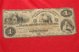 An 1800s Bank of Mecklenburg One Dollar Note