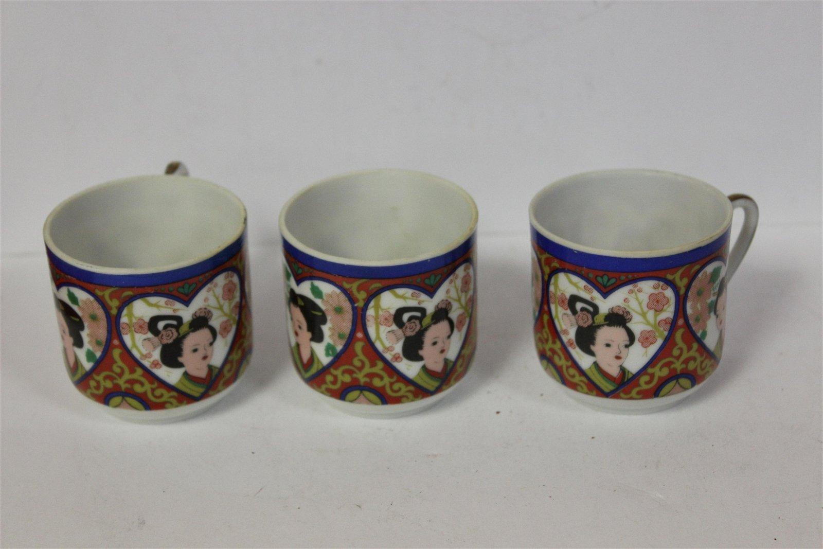 Lot of Three Japanese Lithophane Cups
