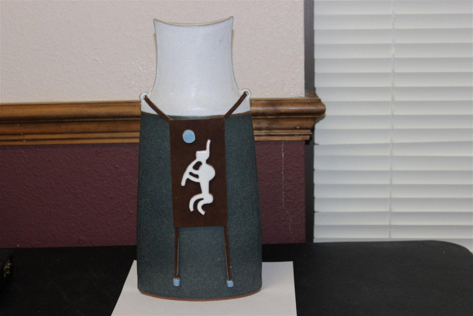An Indian? Signed Pottery/Leather Vase