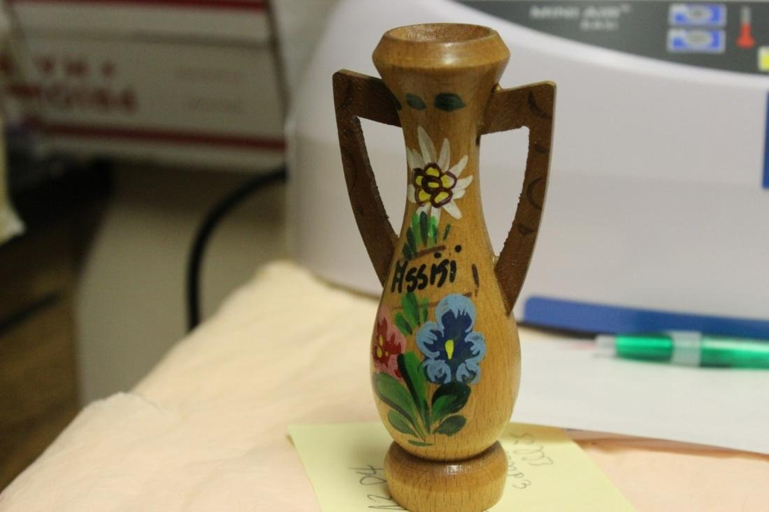 A Wooden Miniature Hand Painted Vase - Signed