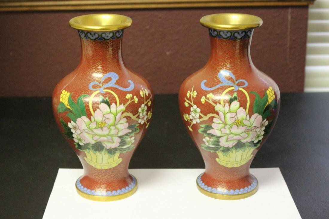 A Pair of Chinese Cloisonne Vases- Vintage