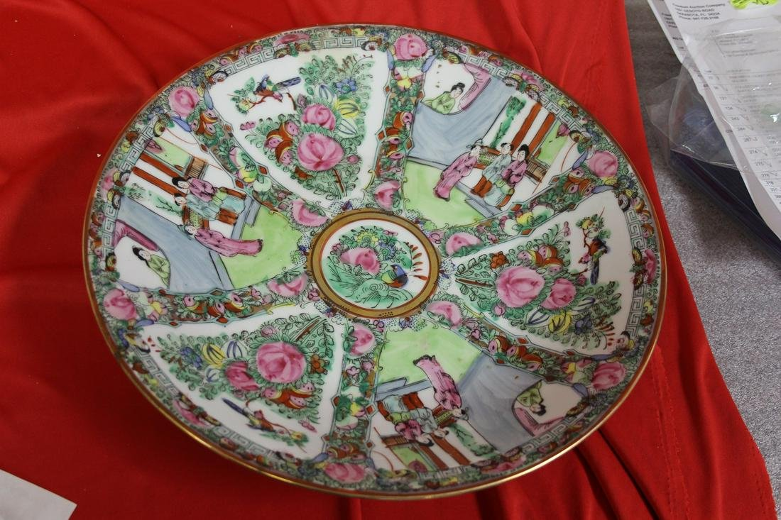 A Large Chinese Rose Medallion Shallow Charger