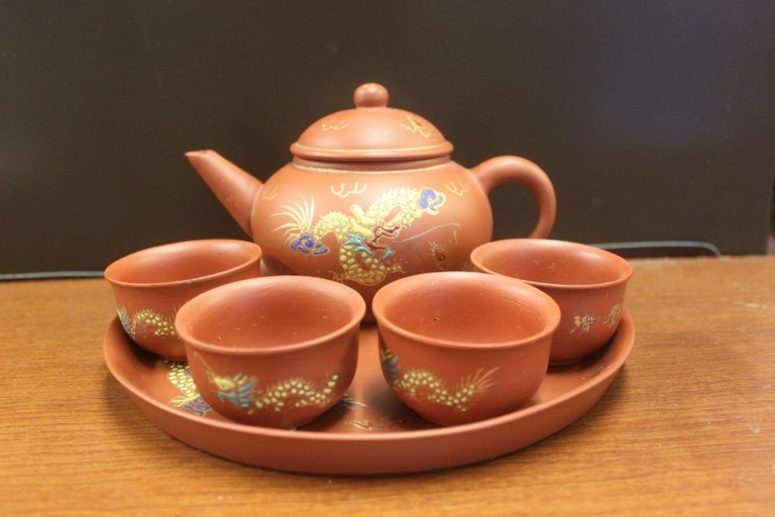 A Chinese Yixing Teapot / Cup Set With Undertray.