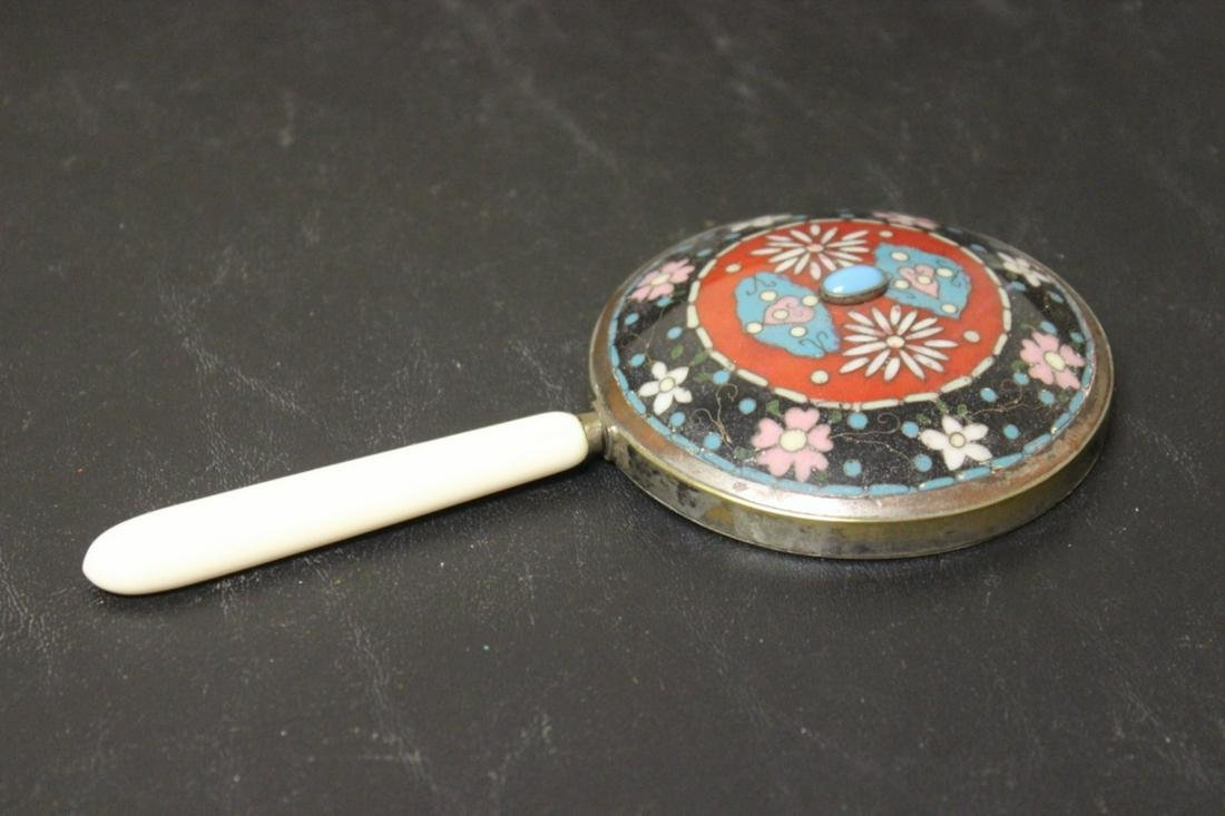 A Beautiful Cloisonne and Torquoise Hand Mirror