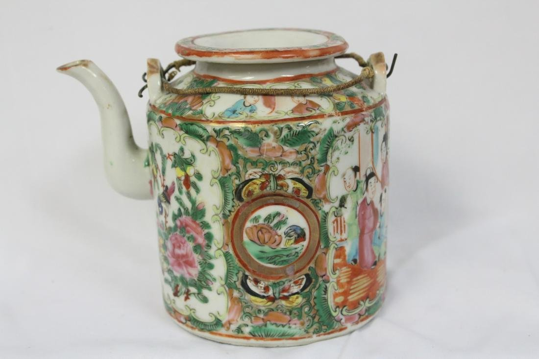 A Chinese 19th Century Rose Medallion Teapot