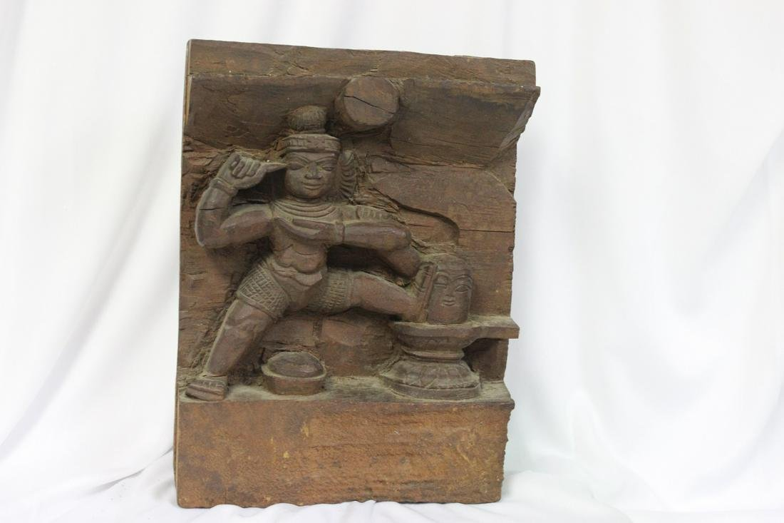 A Carved Asian Wood Panel