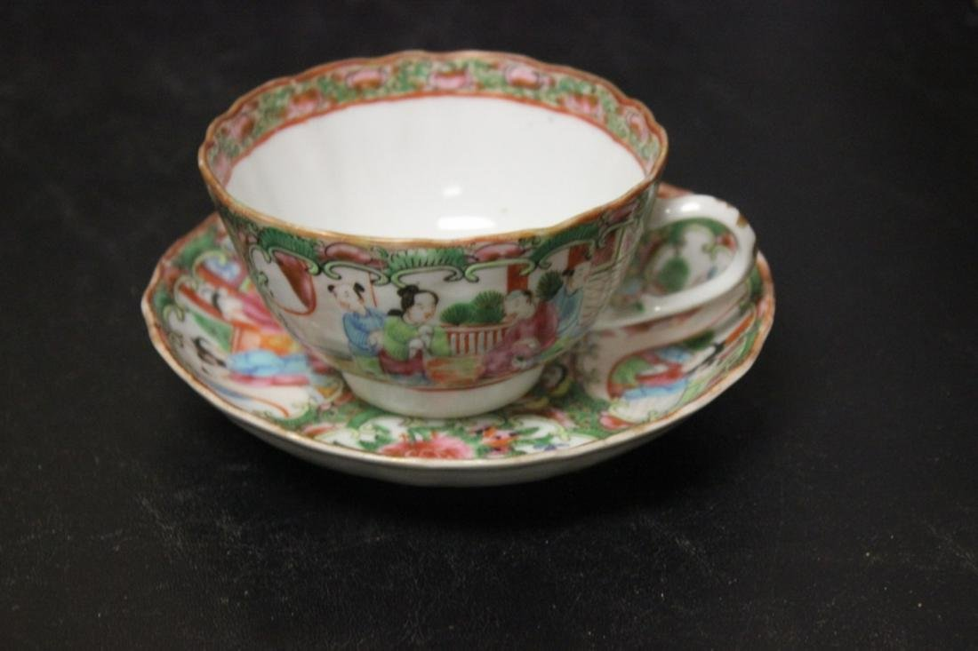 A 19th Century Rose Medallion Cup and Saucer