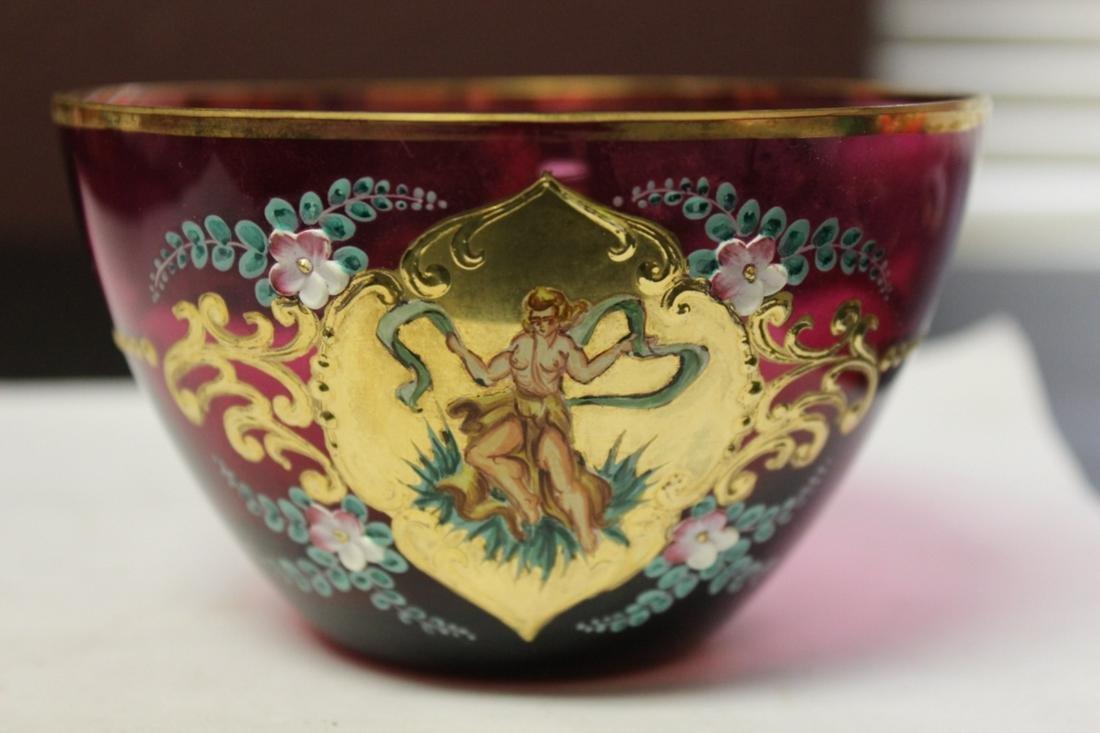 A Hand Painted Cranberry Bowl - Rare Figeral Design