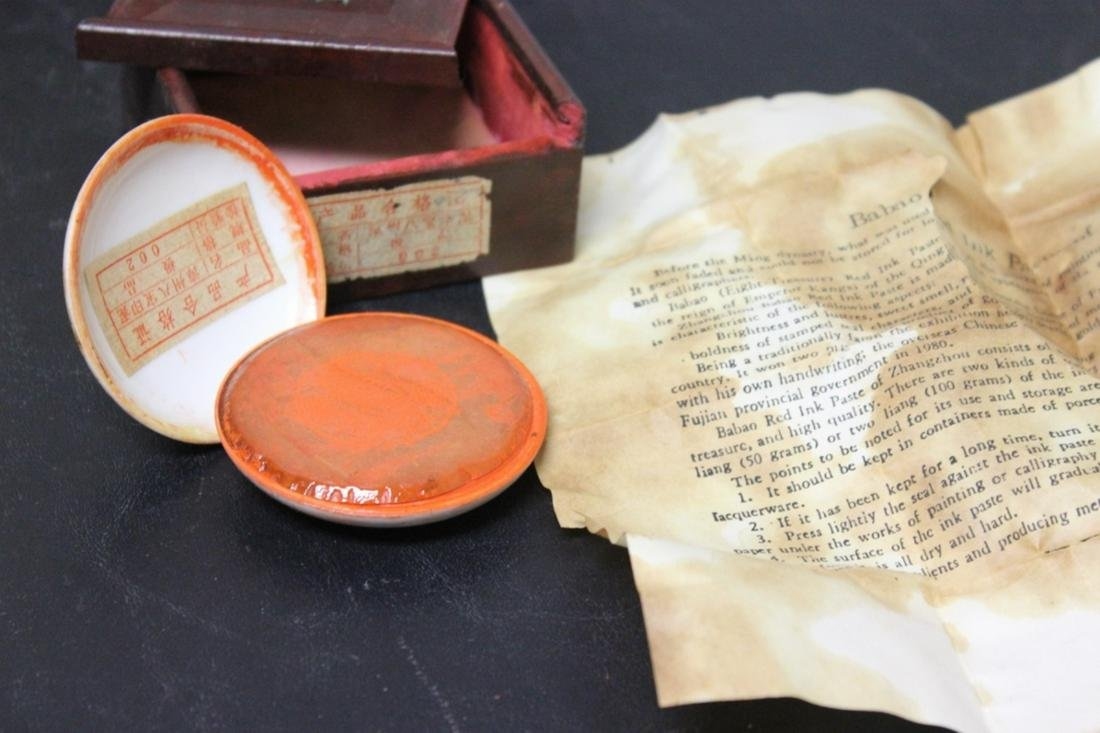 A Vintage Red Ink Paste Ceramic Box