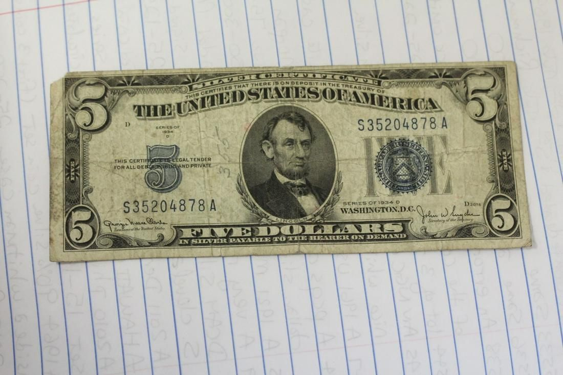 A 1934 D $5.00 Note