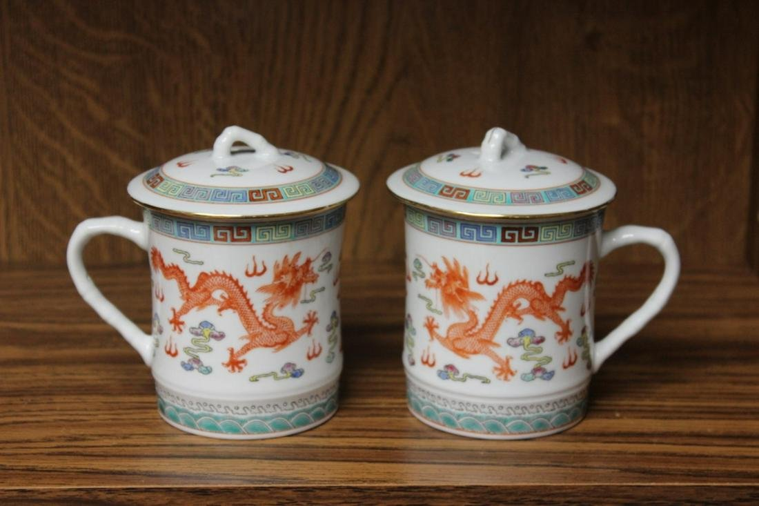 A Pair of Chinese Dragon Cups With Lids